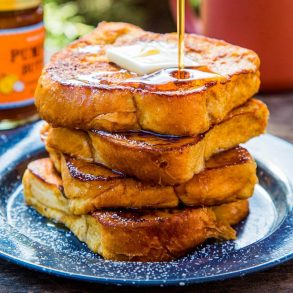 Pumpkin french toast on a plate