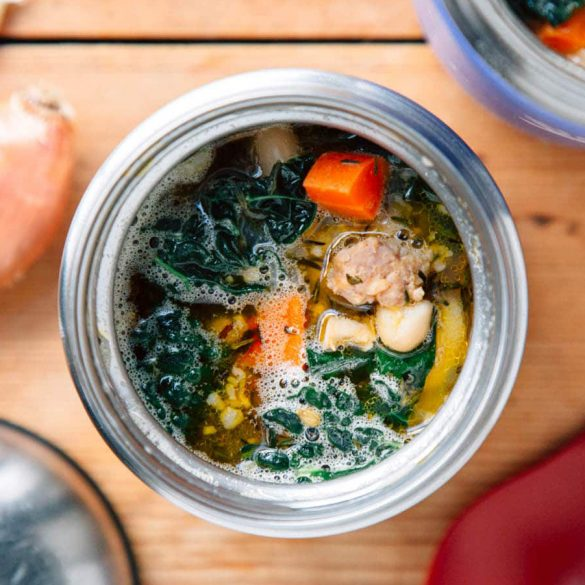 Soup in a thermos jar