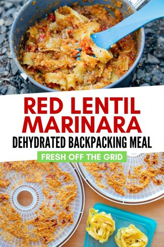"Pinterest graphic with text overlay reading ""Red lentil marinara dehydrated backpacking meal"""