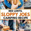 """Pinterest graphic with text overlay reading """"Red lentil sloppy joes camping recipe"""""""