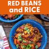 "Pinterest graphic with text overlay reading ""Dutch oven red beans and rice"""