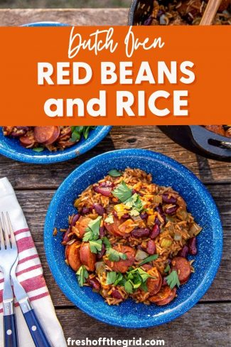 """Pinterest graphic with text overlay reading """"Dutch oven red beans and rice"""""""