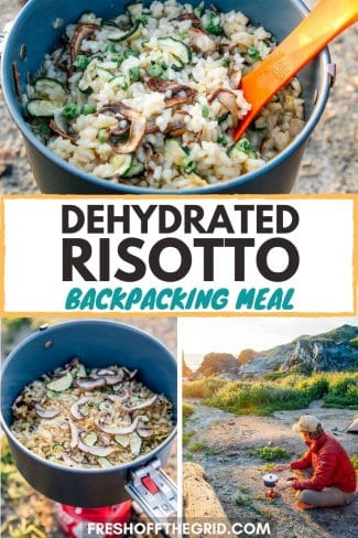 "Pinterest graphic with text overlay reading ""Dehydrated risotto backpacking meal"""