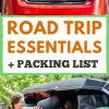 """Pinterest graphic with text overlay reading """"Road Trip Essentials and Packing List"""""""