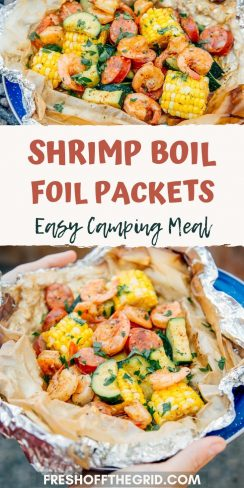"""Pinterest graphic with text overlay reading """"Shimp boil packets easy camping meal"""""""