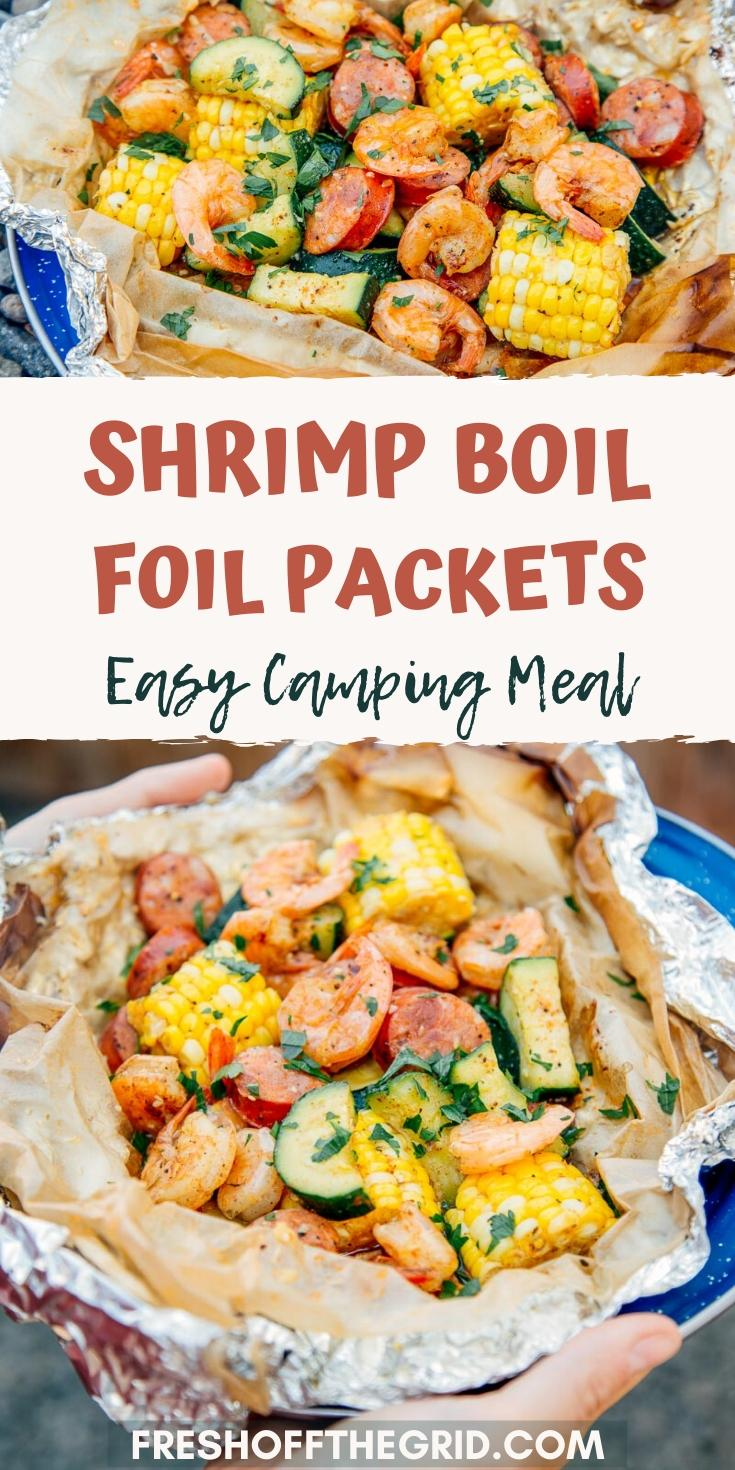 This Shrimp Boil Foil Packet is a campfire classic and the perfect meal idea for your next camping trip. Foil packet meals are quick to prepare, easy to clean up, and can be cooked directly over a campfire or BBQ. Just assemble your ingredients, seal them inside using aluminum foil and parchment paper, and place them over your heat source. Campfire, charcoal, propane grill, whatever! via @freshoffthegrid