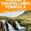 "Pinterest graphic with text overlay reading ""Iceland's Snaefellsnes Peninsula road trip itinerary"""