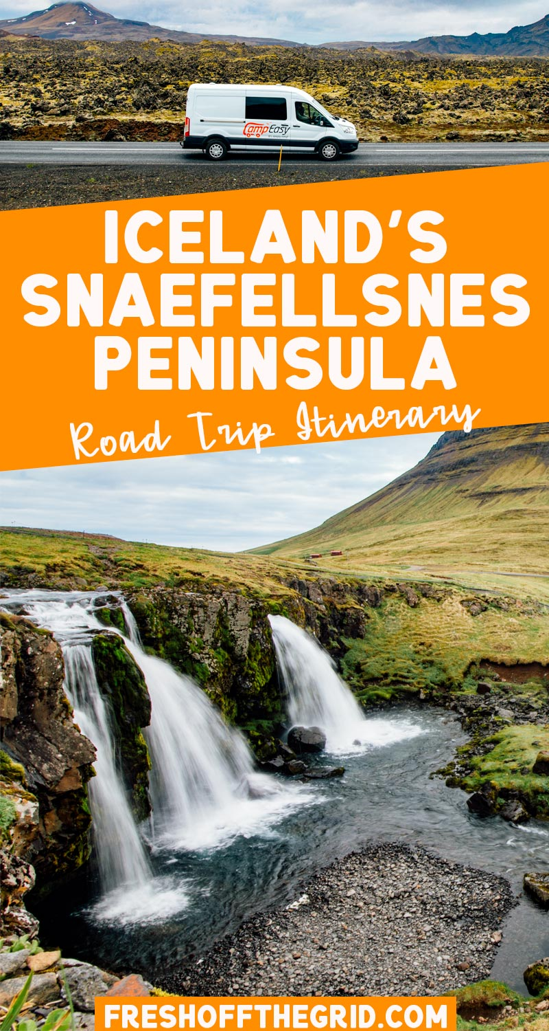 This Snaefellsnes Peninsula itinerary is perfect if you want to experience all the natural wonders of Iceland but only have a few days to visit! It's a great 2 or 3 day Iceland road trip route where you can see volcanoes, waterfalls, glaciers, black sand beaches, and quaint seaside towns. A must for your Iceland bucket list! via @freshoffthegrid