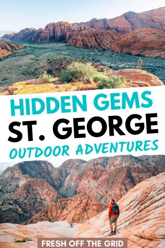 """Pinterest graphic with text overlay reading """"Hidden gems St. George outdoor adventures"""""""