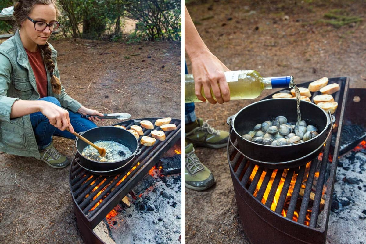 First picture shows Megan sautéing garlic in a Dutch oven over a campfire. Second photo shows Megan pouring wine from a wine bottle into a Dutch oven