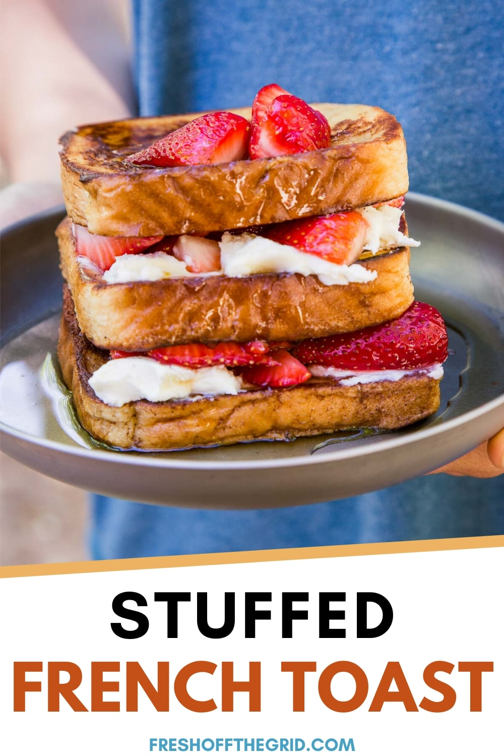 This Stuffed French Toast is filled with sweet mascarpone cheese and fresh strawberries, making it a decadent breakfast for camping or Sunday brunch! Camping food | Camping meals via @freshoffthegrid
