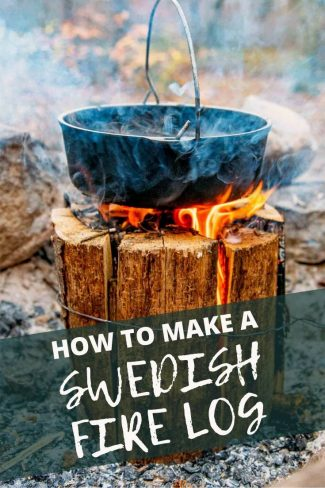 """Pinterest graphic with text overlay reading """"How to make a Swedish fire log"""""""