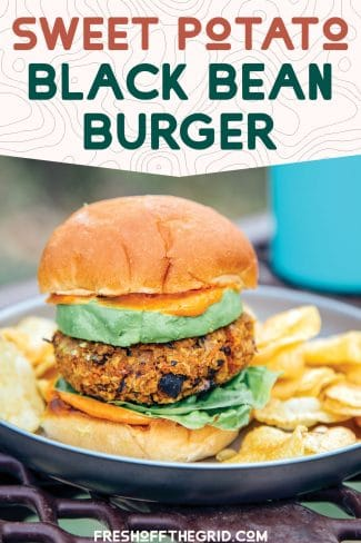 "Pinterest graphic with text overlay reading ""Sweet potato black bean burger"""