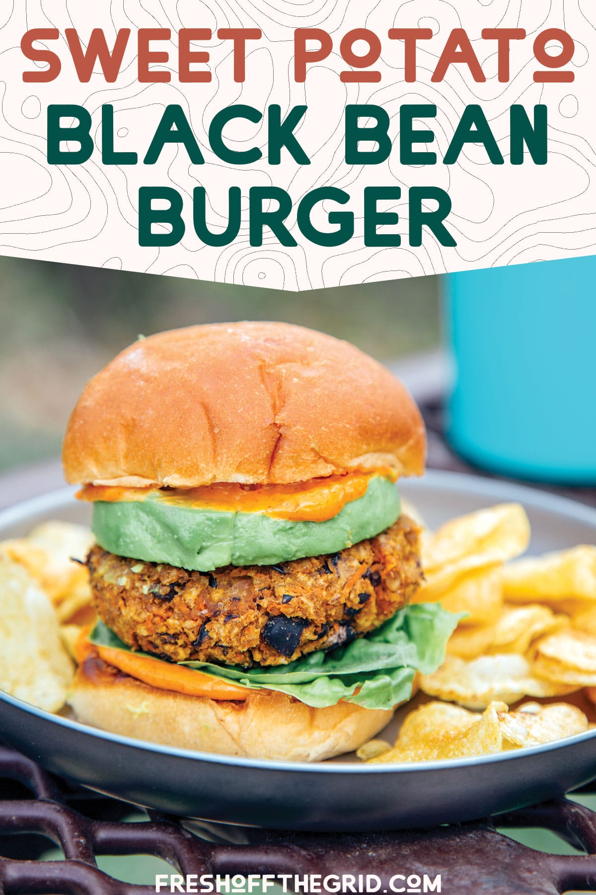 These vegetarian black bean burgers are packed with black beans, sweet potatoes, and spices for a super flavorful and healthy veggie burger recipe perfect for camping trips, tailgating, or an easy weeknight meal at home. via @freshoffthegrid