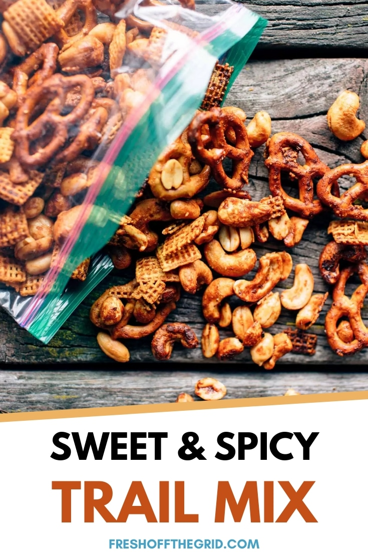 This Sriracha trail mix is a perfect healthy hiking snack! Naturally sweet and spicy with just the right amount of crunch, this homemade snack mix will keep you full of energy. via @freshoffthegrid