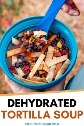 "Pinterest graphic with text overlay reading ""Dehydrated tortilla soup"""