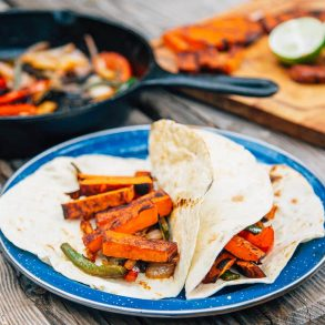 Grilled sweet potato fajitas on a tortilla