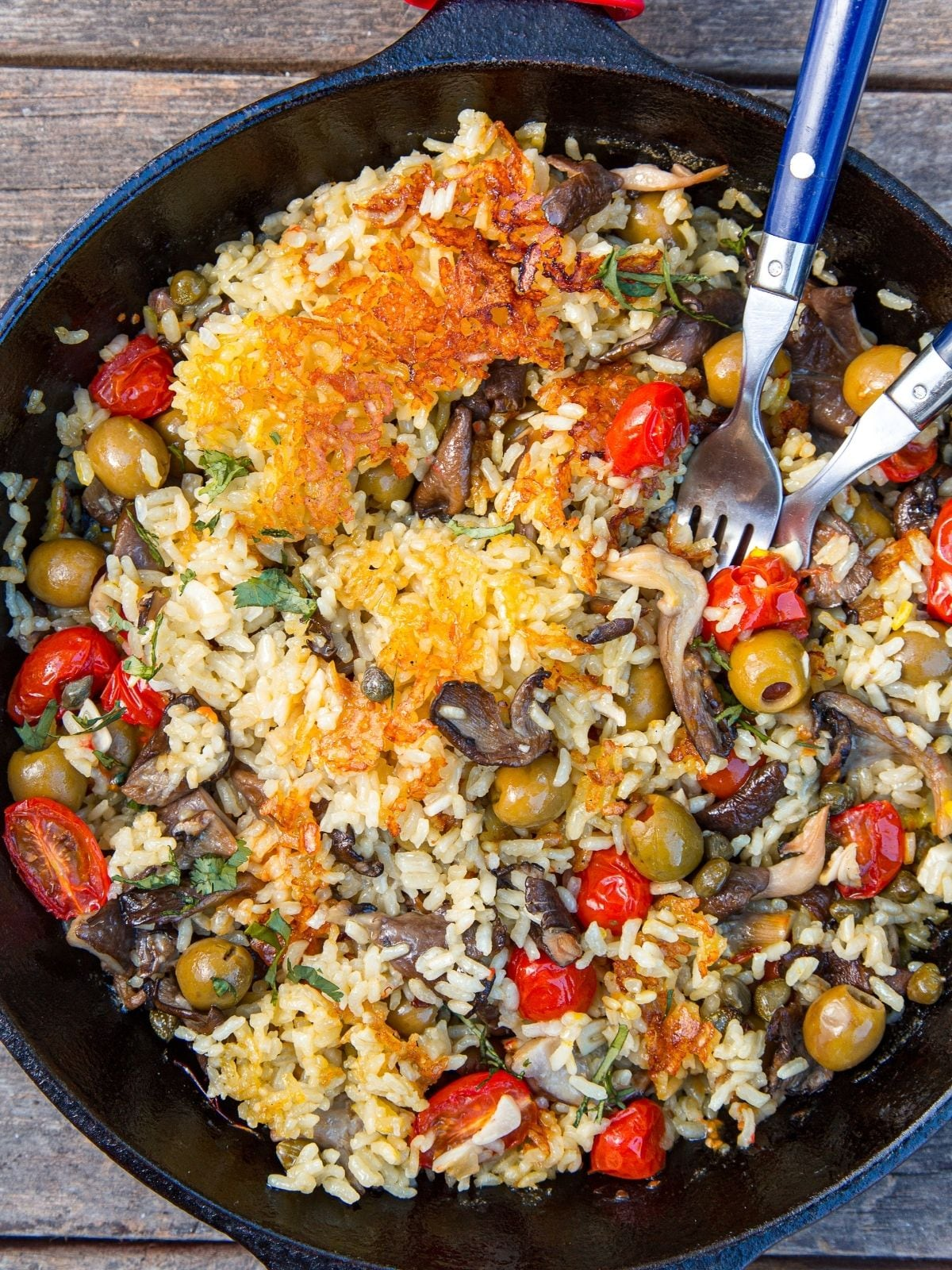 Overhead view of vegan paella in a skillet