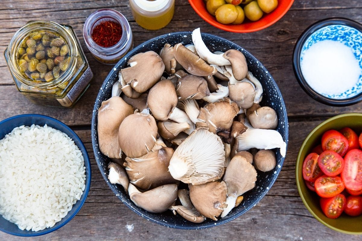 Ingredients for vegan paella on a table