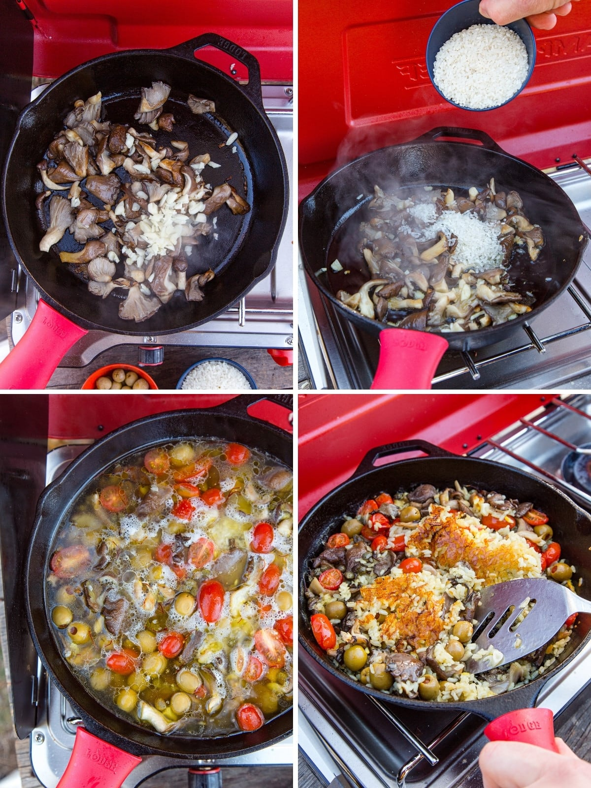 Step by step images of making vegan paella