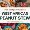 "Pinterest graphic with text overlay reading ""DIY backpacking food West African sweet potato stew"""