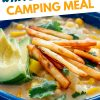 """Pinterest graphic with text overlay reading """"White bean chili camping meal"""""""