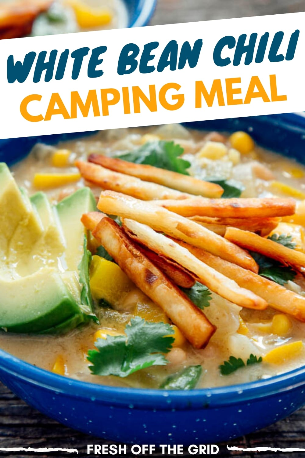 This White Bean Chili is a great vegetarian, one pot camping meal. White Chili is perfect for summer camping since its filling and hearty, while being a little lighter than its traditional counterpart. via @freshoffthegrid