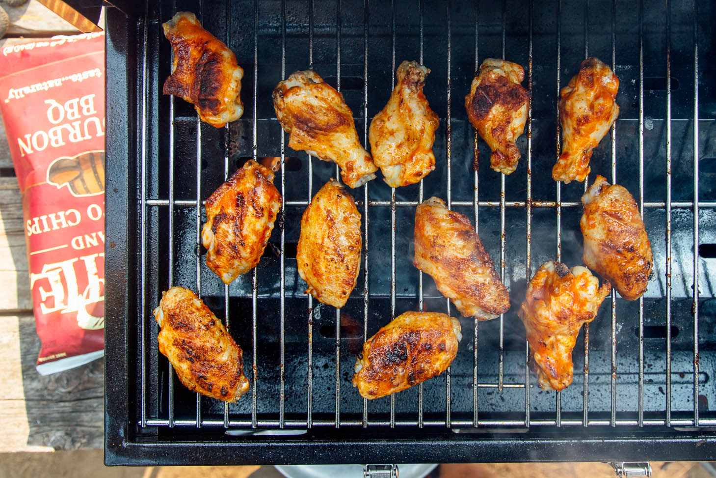Chicken wings on a tabletop grill
