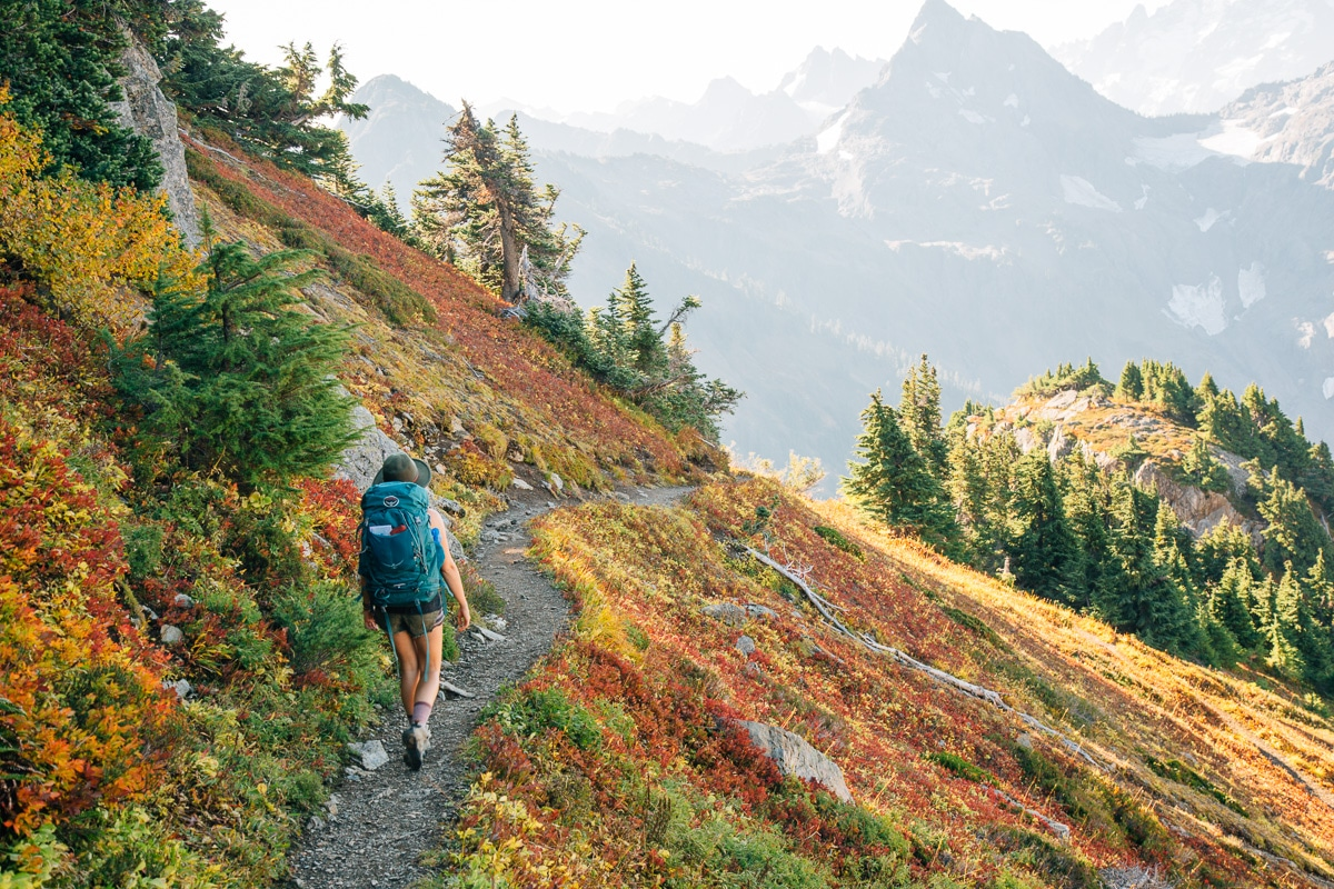Woman walking on a trail with a backpack. Wildflowers cover the mountainside.