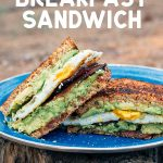"""Pinterest graphic with text overlay reading """"Bacon egg and avocado breakfast sandwich"""""""