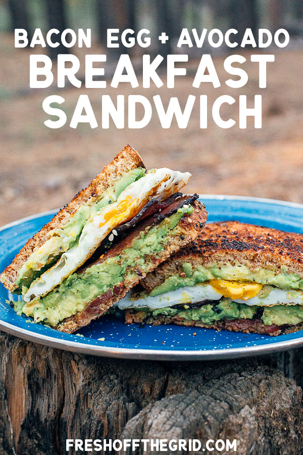 This avocado toast breakfast sandwich has it all: avocado, bacon, toast, and a fried egg. It's an easy breakfast to make while camping, requiring just a single skillet and 5 ingredients. via @freshoffthegrid