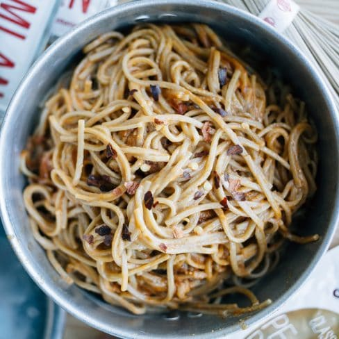 Peanut butter noodles in a backpacking pot