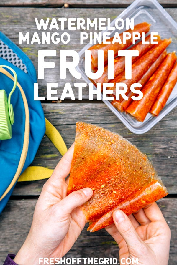 These fruit leathers are inspired by the fruit carts in LA: full of watermelon, mango,  and pineapple, sprinkled with a touch of chili spice. Instructions include how to make fruit leathers in the oven or in a dehydrator. via @freshoffthegrid
