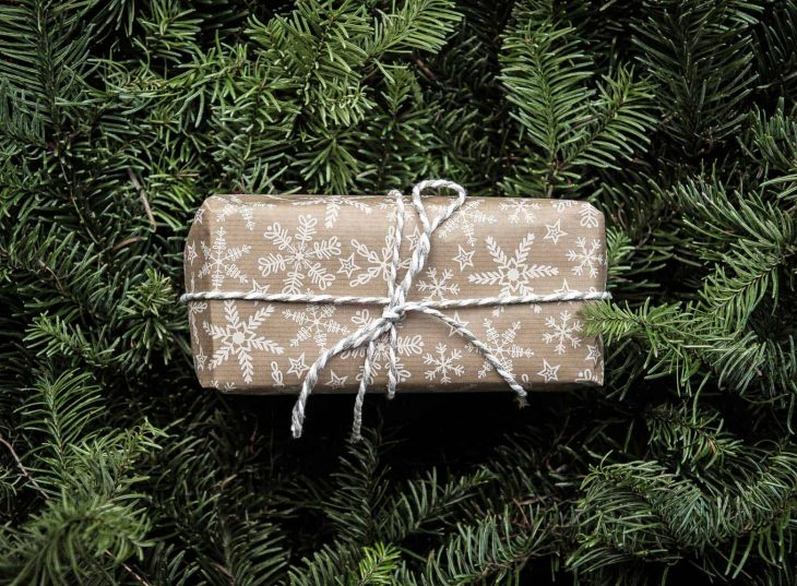 A gift wrapped in brown paper on top of evergreen branches