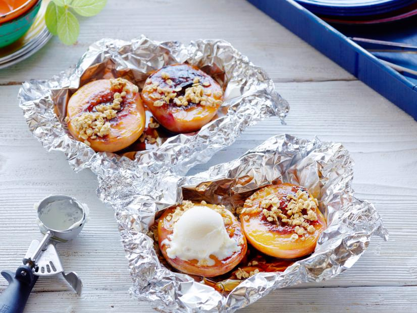 Two foil packets with peaches