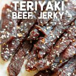 "Pinterest graphic with text overlay reading ""Easy Homemade Beef Jerky"""