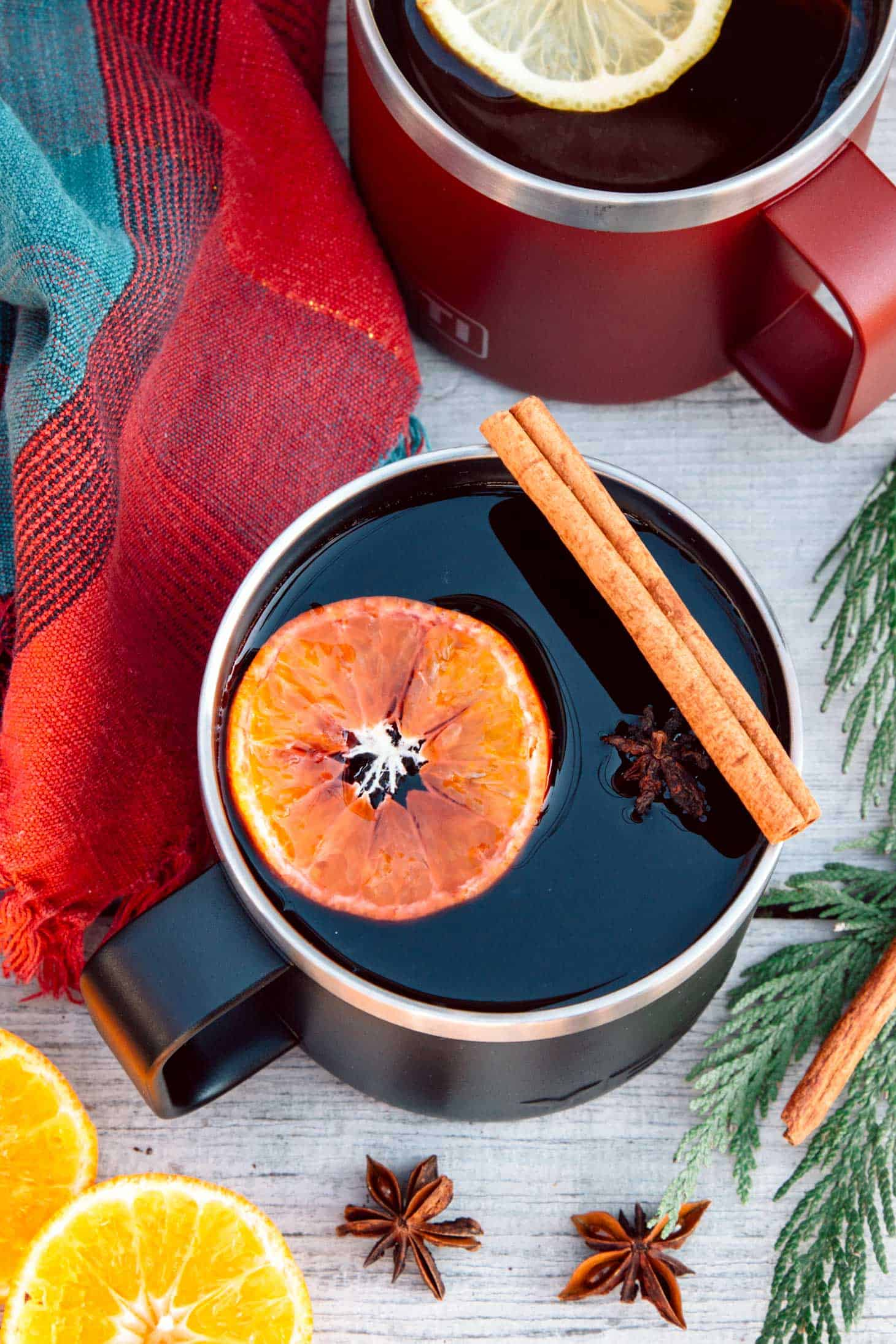 Hot mulled wine in a mug