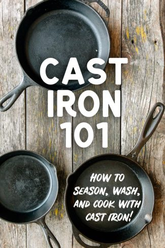 "Pinterest graphic with text overlay reading ""Cast Iron 101"""