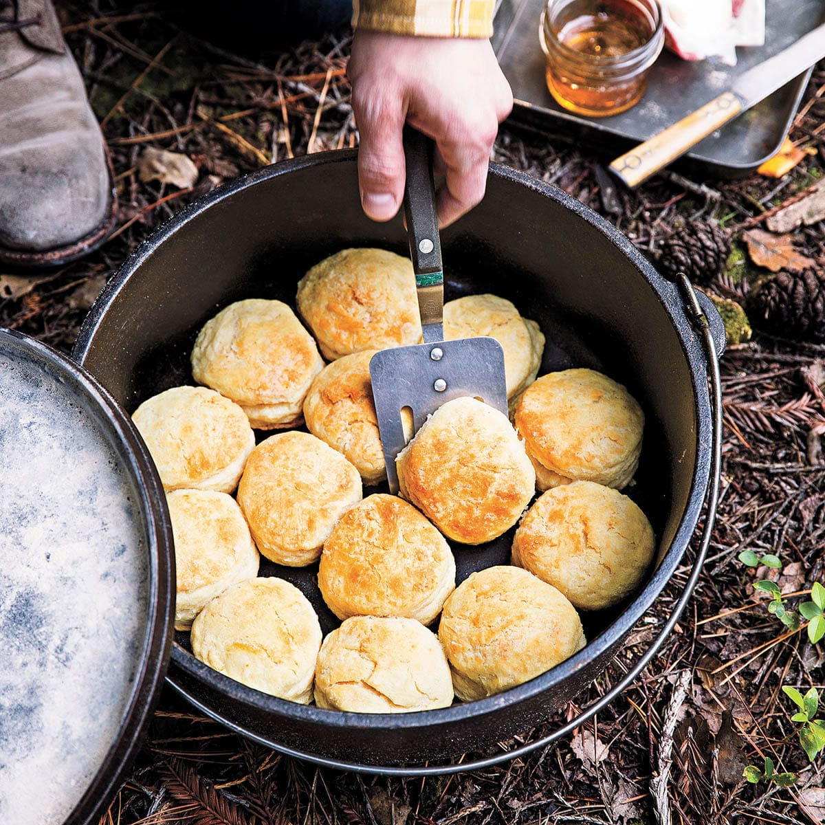 Biscuits in a Dutch oven