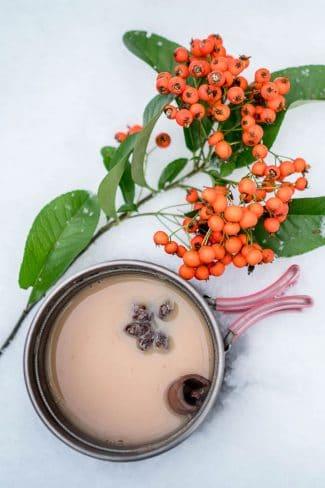 A mug of masala chai on a snowy surface