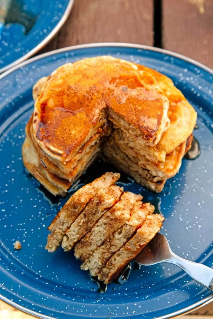 Stack of spiced pumpkin pancakes on a blue plate