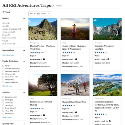 Screenshot of REI Adventures website