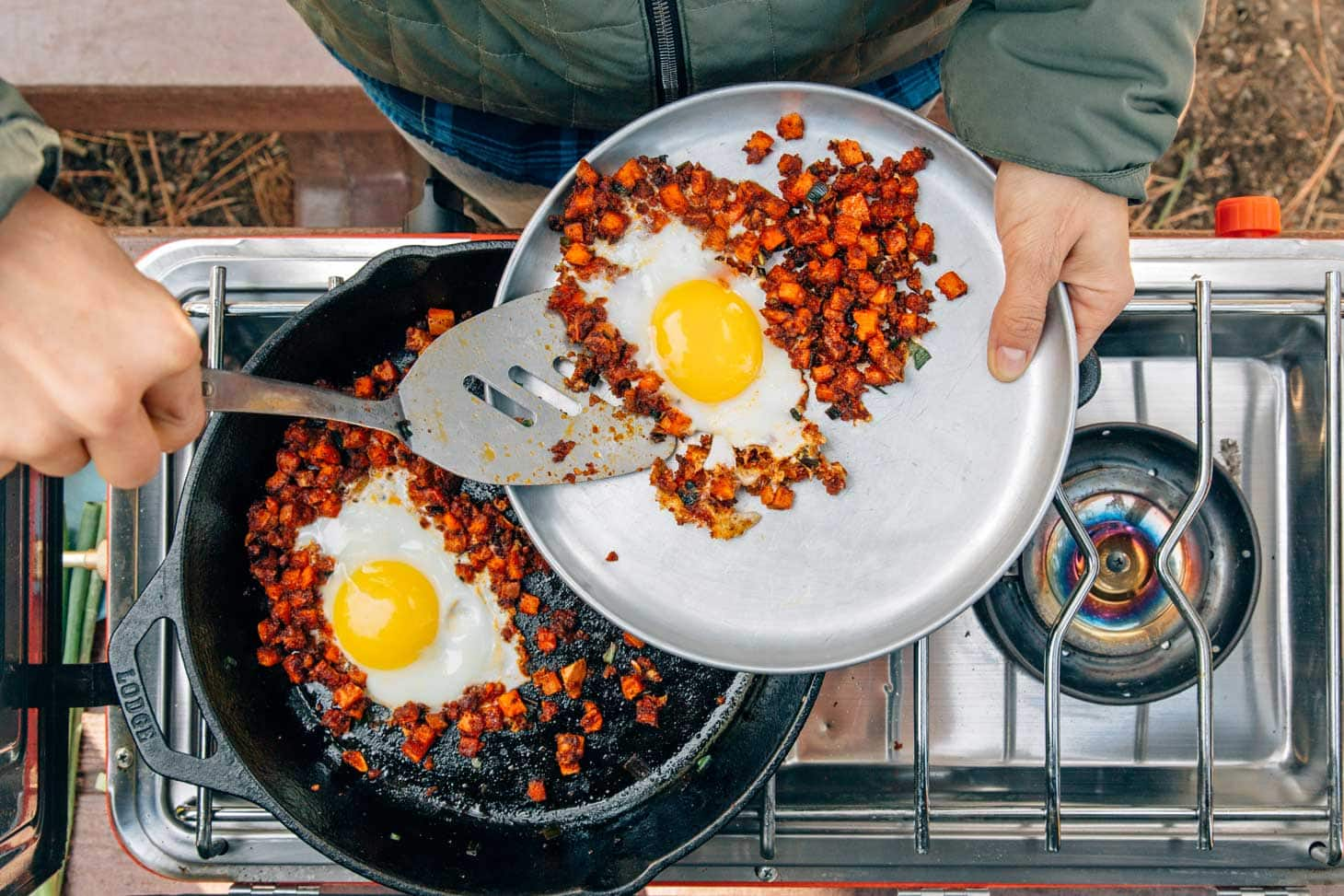 Serving sweet potato chorizo hash from a skillet