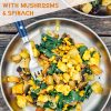 "Pinterest graphic with text overlay reading ""Easy tofu scramble with mushrooms and spinach"""