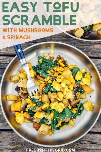 """Pinterest graphic with text overlay reading """"Easy tofu scramble with mushrooms and spinach"""""""
