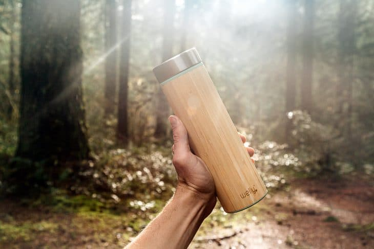 Holding the Welly infuser water bottle